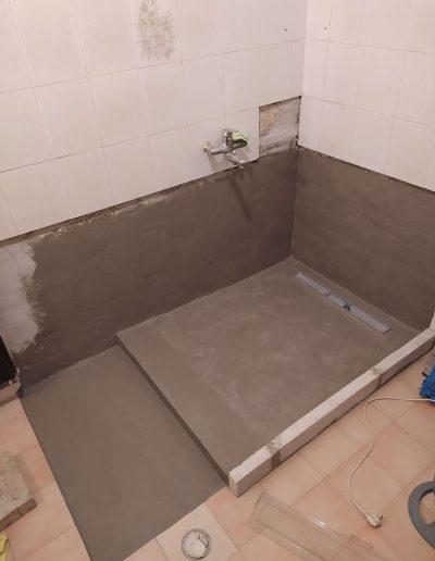 Fürdőszoba felújítás épített zuhanykabin előkészítés